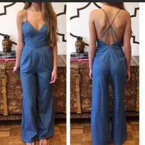 Lovers and friends cypress jumpsuit denim small